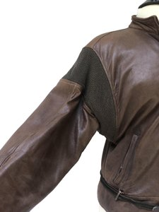 Versace Vintage 80's Leather/Chain Mail Brown Leather Jacket