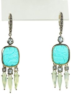 Stephen Dweck STEPHEN DWECK Sterling Chalcedony & Carved Turquoise Dangle Earrings