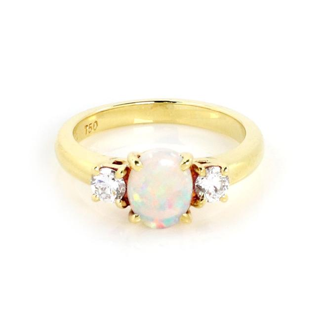 Tiffany & Co. 23713 Fire Opal Diamond 18k Yellow Gold Cocktail Ring Tiffany & Co. 23713 Fire Opal Diamond 18k Yellow Gold Cocktail Ring Image 1
