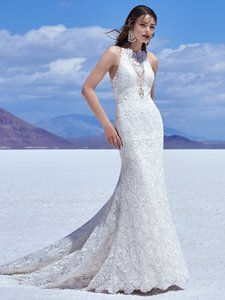 Sottero and Midgley Ivory Over Soft Blush Lace Zyan Destination Wedding Dress Size 10 (M)