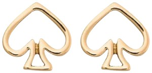 Kate Spade Gold Tone Open Logo Spade Stud Earrings