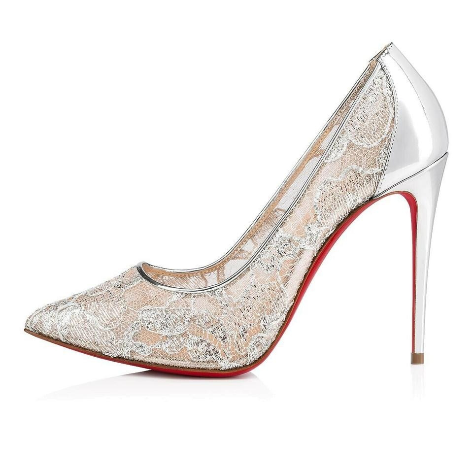 cabeaf609b9 Christian Louboutin Silver Follies Lace 100 Nude Mesh Specchio Stiletto  Classic Heel Pumps Size EU 38 (Approx. US 8) Regular (M, B)