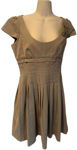 Tocca short dress tan Cotton Pleated Pinstripe Cap Sleeves on Tradesy