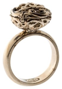 Chanel Gold Tone Crystal Encased Baroque Engraved Cocktail Ring Size 52