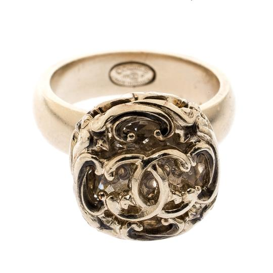 Chanel Gold Tone Crystal Encased Baroque Engraved Cocktail Ring Size 52 Image 1