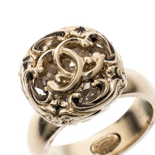 Chanel Gold Tone Crystal Encased Baroque Engraved Cocktail Ring Size 52 Image 2