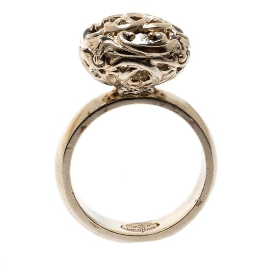 Chanel Gold Tone Crystal Encased Baroque Engraved Cocktail Ring Size 52 Image 3