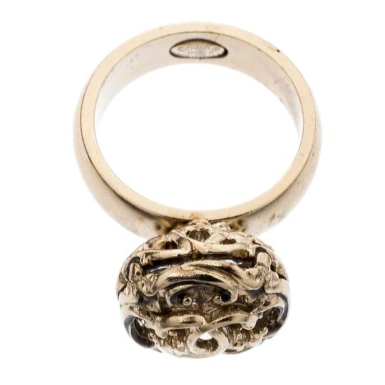 Chanel Gold Tone Crystal Encased Baroque Engraved Cocktail Ring Size 52 Image 4