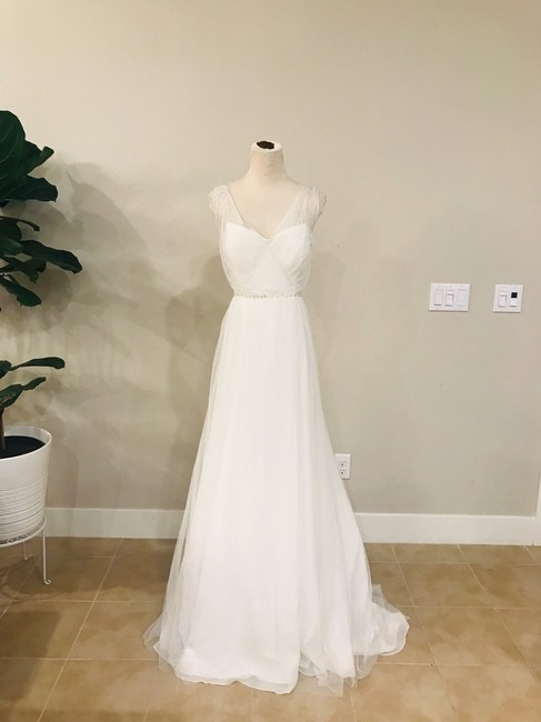 Item - White Magnolia Tulle Beaded Formal Wedding Dress Size 8 (M)