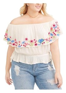 Poof! Apparel Top White w/Floral Embroidery