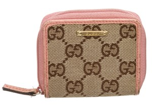 Gucci Gucci Brown GG Canvas Pink Leather Small Coin Holder Wallet