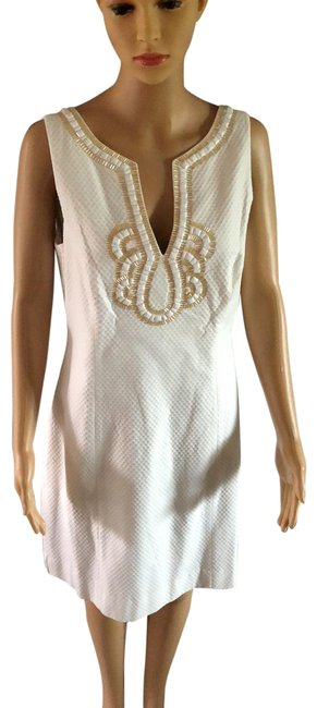 Lilly Pulitzer White Mid-length Cocktail Dress Size 10 (M) Lilly Pulitzer White Mid-length Cocktail Dress Size 10 (M) Image 1