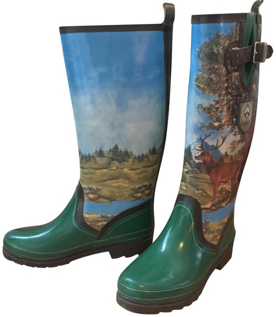 Item - Green and Multi Tall Rain Boots/Booties Size EU 37 (Approx. US 7) Regular (M, B)