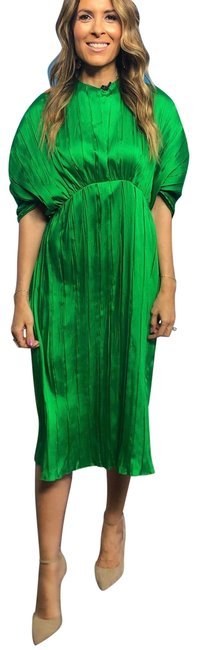 Item - Green Pleated Mid-length Night Out Dress Size 6 (S)