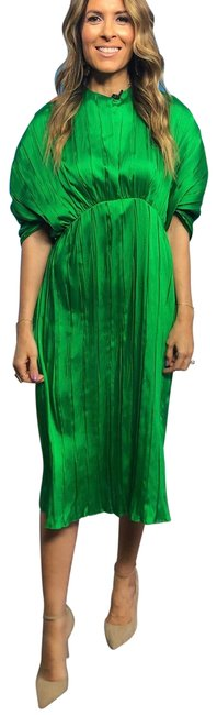 Item - Green Pleated Mid-length Night Out Dress Size 2 (XS)
