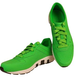 Gucci Green Ipanema Mens Neon Leather Lace Up Running Sneakers 9 Us 10 Shoes