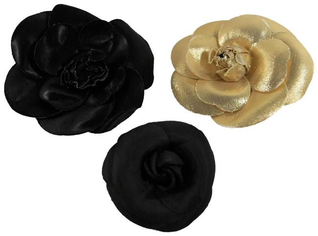 Item - Black and Gold 3 Vintage 1990-91 Camellia Fabric Brooches