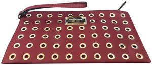 Michael Kors Colgate Large Grommet Grommeted Leather Wristlet
