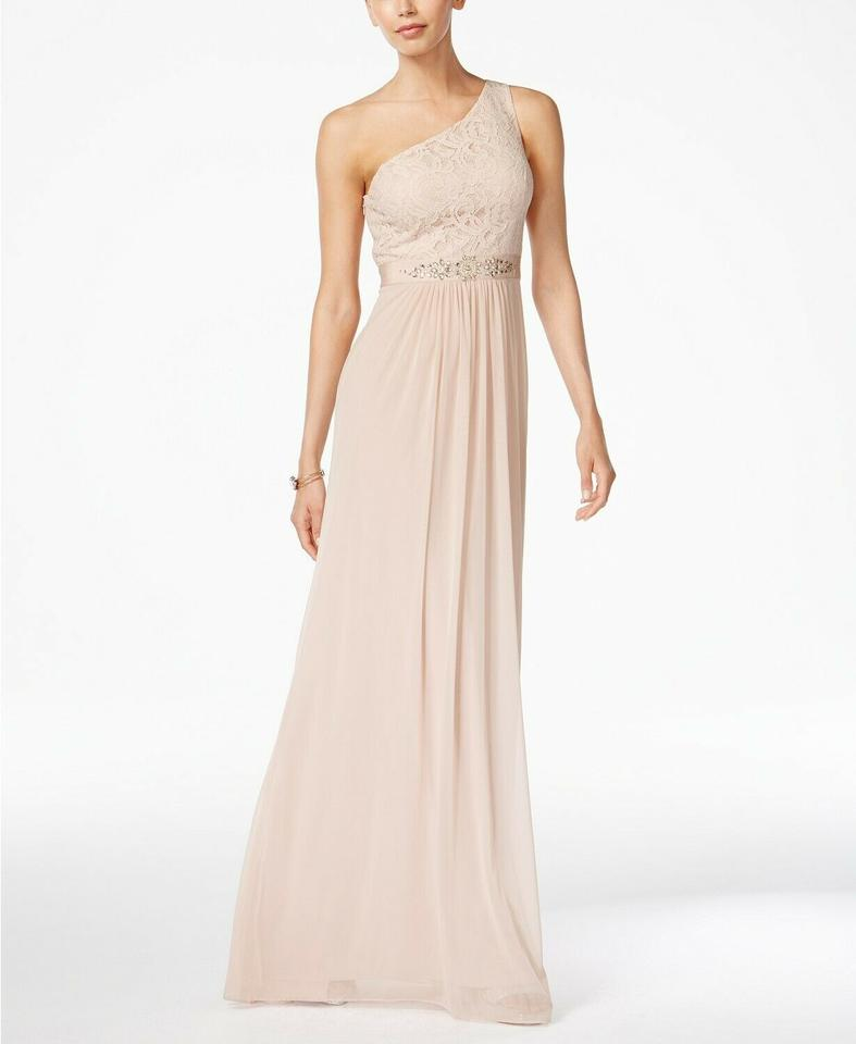 Adrianna Papell Peach Embellished Lace One Shoulder Gown Long Formal Dress Size 8 M 26 Off Retail