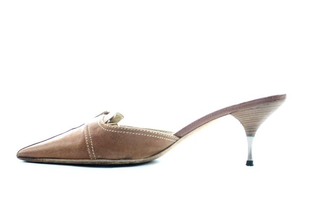 Item - Brown Leather with Steel Heel Mules/Slides Size US 9 Regular (M, B)