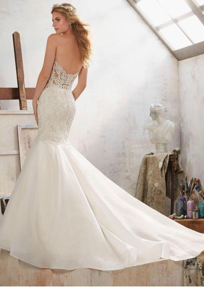 top-rated quality classic fit choose genuine Mori Lee Ivory Beaded Corset Top with Organza Bottom Gown Formal Wedding  Dress Size 8 (M) 23% off retail