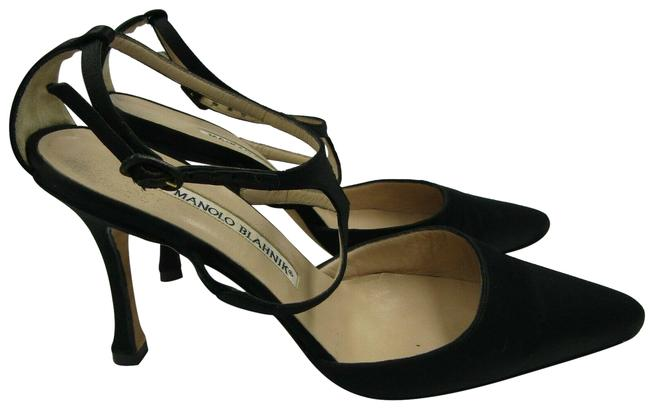 Item - Black 6 Pumps Satin Pointed Toe Strappy Formal Shoes Size EU 36 (Approx. US 6) Regular (M, B)