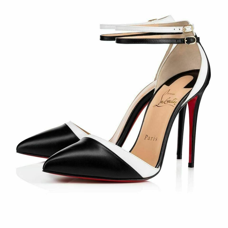 info for 86cac 63964 Christian Louboutin Black Uptown Double 100 Latte Leather 2x Buckle Ankle  Strap Pumps Size EU 37.5 (Approx. US 7.5) Regular (M, B) 31% off retail