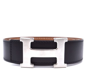 Hermès 32Mm classic silver brushed H Reversible leather Belt Size 70