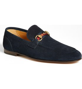 Gucci Navy Horsebit Elanor Loafer In Suede Size 16.5g/ 17.5 Us Shoes