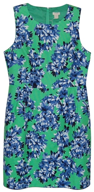 Item - Green Blue White Floral Sleeveless Mid-length Cocktail Dress Size 8 (M)