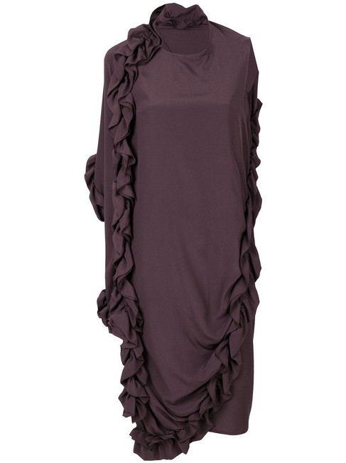 Marni Dark Eggplant 38 In Italy Assymetryc Ruffled Long Night Out Dress Size 4 (S) Marni Dark Eggplant 38 In Italy Assymetryc Ruffled Long Night Out Dress Size 4 (S) Image 1