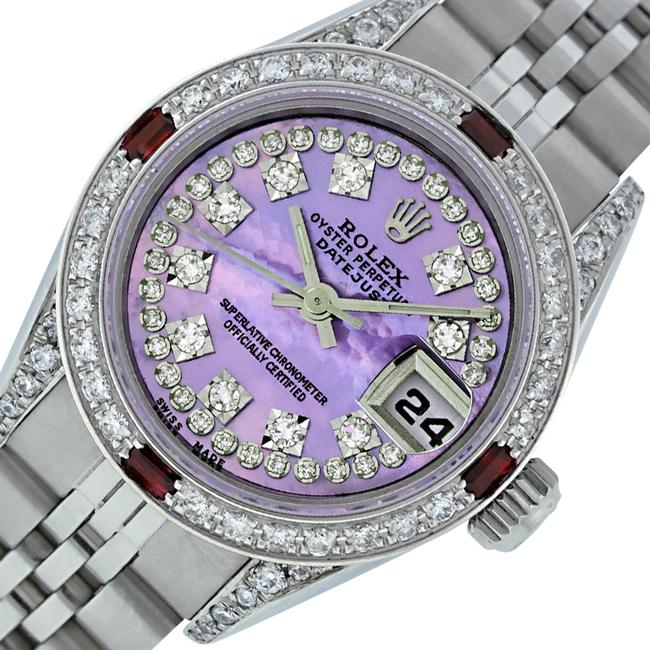 Item - Purple Ladies Datejust Stainless Steel with Mop String Diamond Dial Watch
