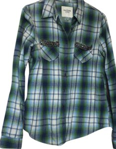 Abercrombie & Fitch Button Down Shirt Blue Green White Plaid