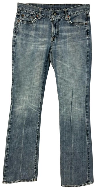 Item - Blue Light Wash Stretch Cotton Denim Straight Leg Jeans Size 29 (6, M)