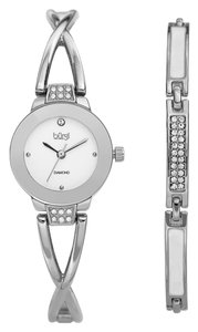 Burgi Index H-Marker Diamond S-Steel Quartz White Dial Round Ladies Watch