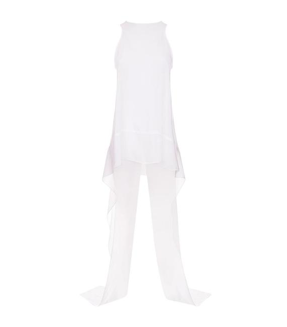 Item - White Long Significance with Hanging Ties Blouse Size 8 (M)
