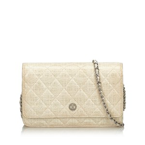 Chanel Chanel White Quilted Wallet on Chain France SMALL