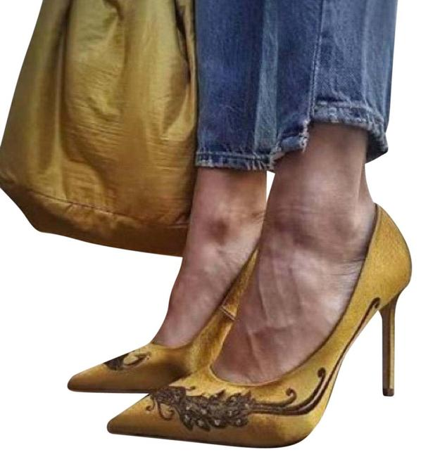 Item - Yellow Satin Peacock Embellished Embroidered Court Pumps Size US 5 Regular (M, B)