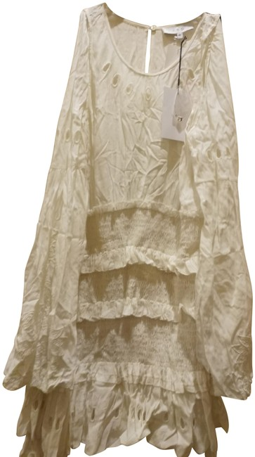 Item - White 40(M) Ruffled Crinkled Embroidered Cold Shoulder Mid-length Casual Maxi Dress Size 10 (M)
