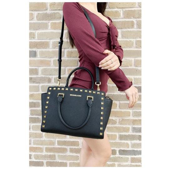 Michael Kors Womens Studded Leather Satchel in Black Image 3