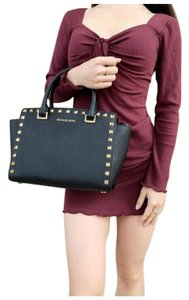 Michael Kors Womens Studded Leather Satchel in Black