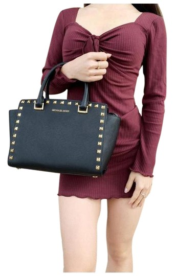 Michael Kors Womens Studded Leather Satchel in Black Image 0