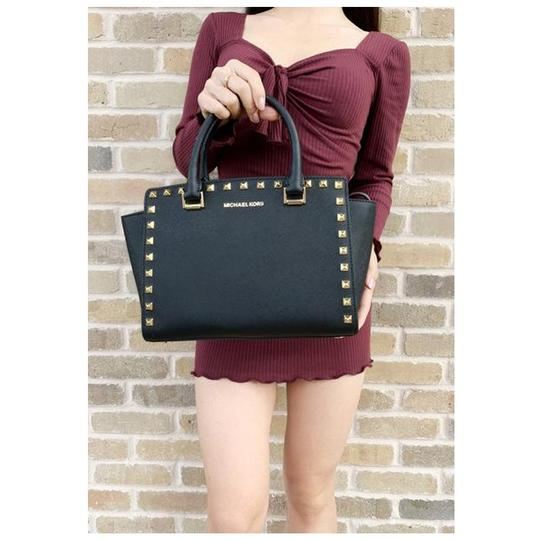 Michael Kors Womens Studded Leather Satchel in Black Image 1