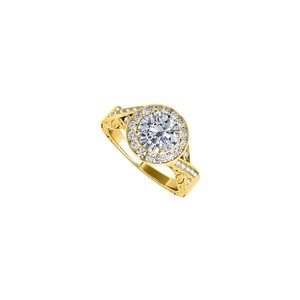 Marco B Charming Cubic Zirconia Twisted Shank Ring in 14K Yellow Gold Exclusiv