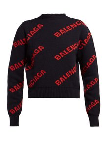 Balenciaga Logo Allover Logo Logo Short Crewneck Sweater