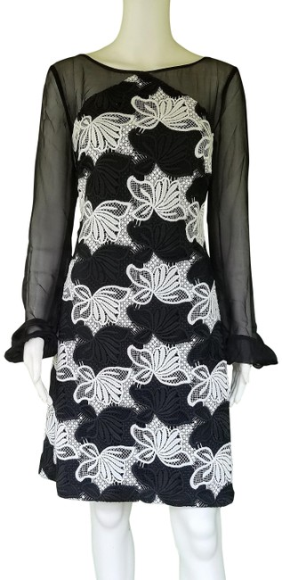 Preload https://img-static.tradesy.com/item/25637589/kay-unger-black-white-lace-chiffon-sleeves-short-cocktail-dress-size-8-m-0-1-650-650.jpg
