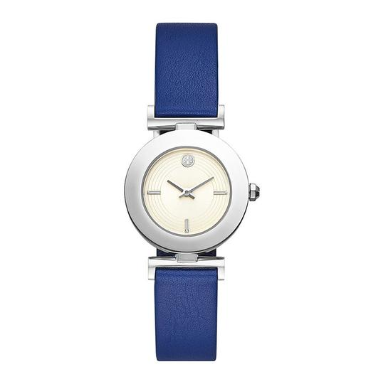 Tory Burch Sawyer Navy & Blue Pull & Twist Reversible Leather Strap Watch Image 1