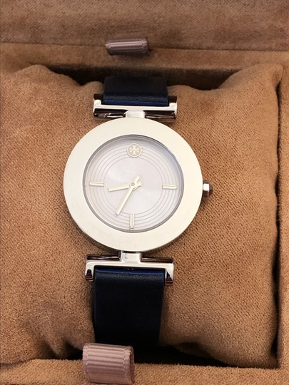 Tory Burch Sawyer Navy & Blue Pull & Twist Reversible Leather Strap Watch Image 3