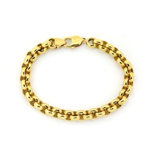 Modern Vintage Tiourlo 18k Yellow Gold 8.5mm Rolo Link Chain Bracelet