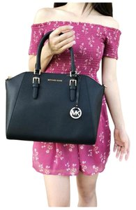 Michael Kors Womens Leather Satchel in Black